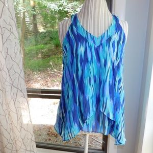 Sheer watercolor print top, lined sleeveless.